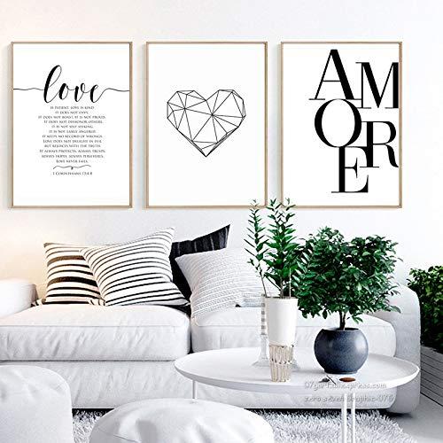 Nordic Ideas Set de 3 Affiches 30x40 Noir et Blanc Citation Amour Maison Tableau Decoration Murale Salon Impressions sur Toile Poster sans Cadre PTPC002-M