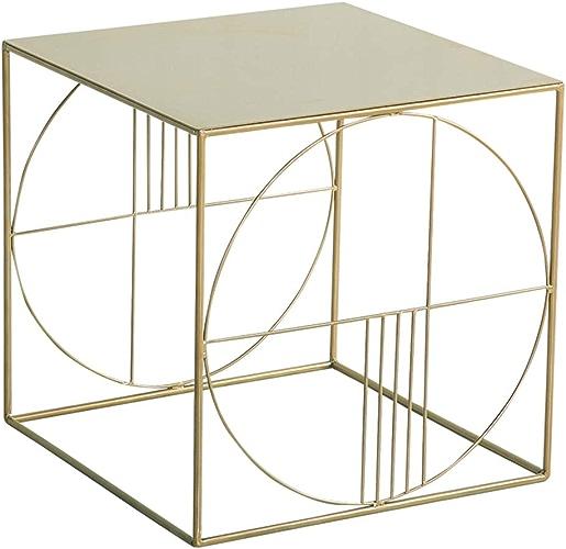 LXZ Homegift Table D'appoint en Fer Carré Géométrique Creux De La Table Basse d'art Table De Salon D'étude De La Table Dorée, 45CMX45CM  45CM