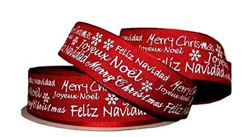 Cinta de Alambre de Calidad Queen con Borde de Alambre de 38 mm para Tartas de Navidad o cumpleaños, Red Merry Christmas Joyeux Noël Feliz Navidad, 5 m