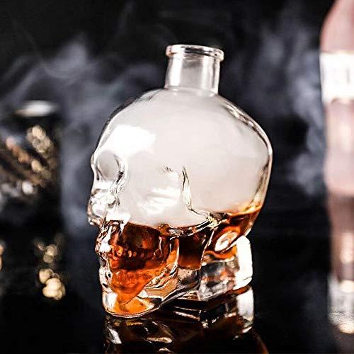Decantador de calaveras de cristal con cabeza de calavera, taza de vino, decantador de vino y copas con tapón para casa, bar, fiesta, 180 ml