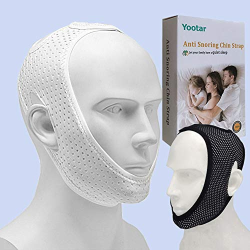 Anti Snoring Chin Strap for Cpap Users, Black & White Breathable Mesh My Stop Snoring Solution Chin Strap Anti Snoring Devices Anti Snore Stopper Strips Mask Belt Jaw Sleep Aid for Men Women (2 Pack)