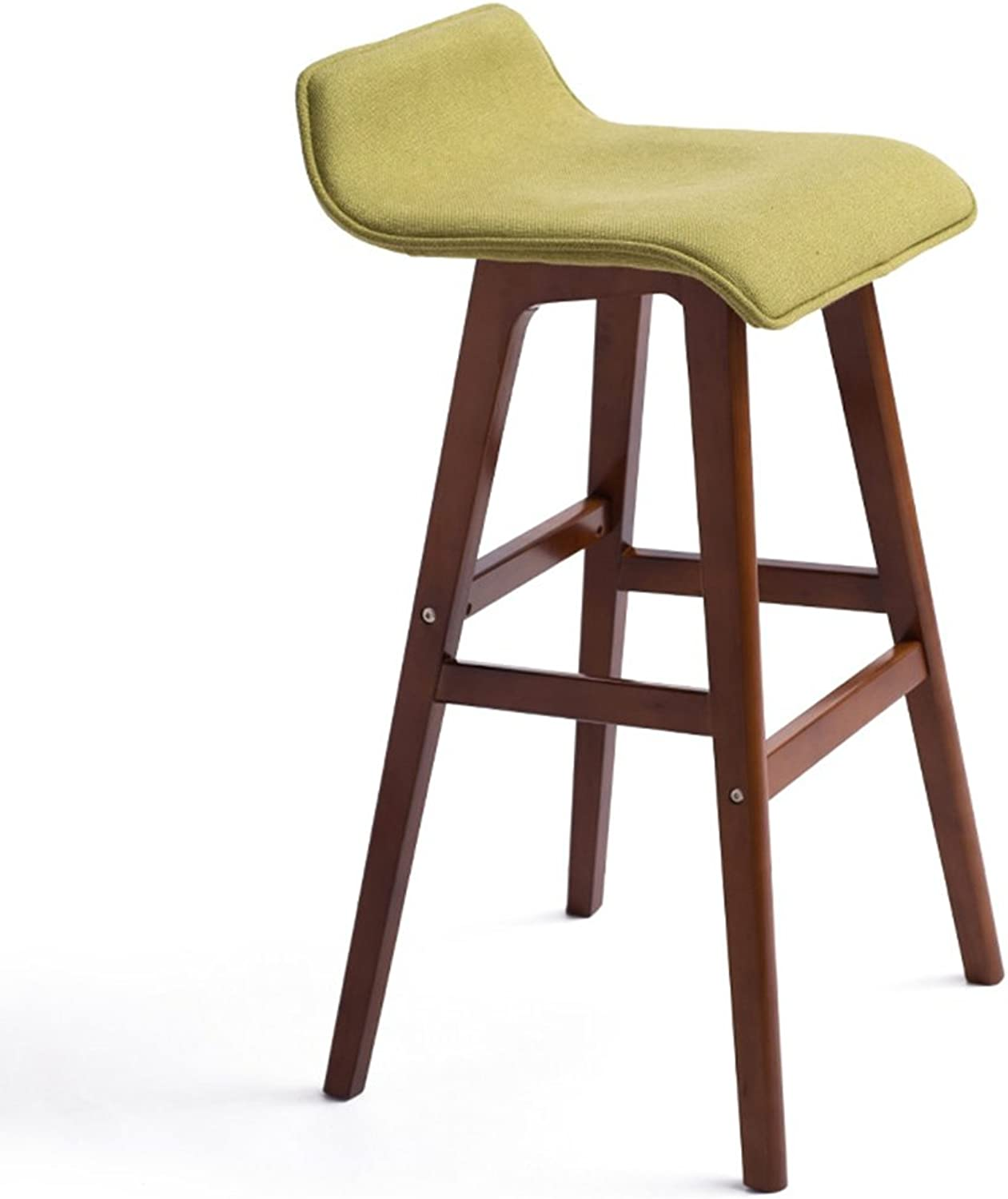 MMM- Minimalistic, Solid Wood, Cotton Linen Cushion Bar Front Desk European Chair Wooden Bench Vintage Bar Stool Height 65cm, and 74cm (color   B, Size   74CM)