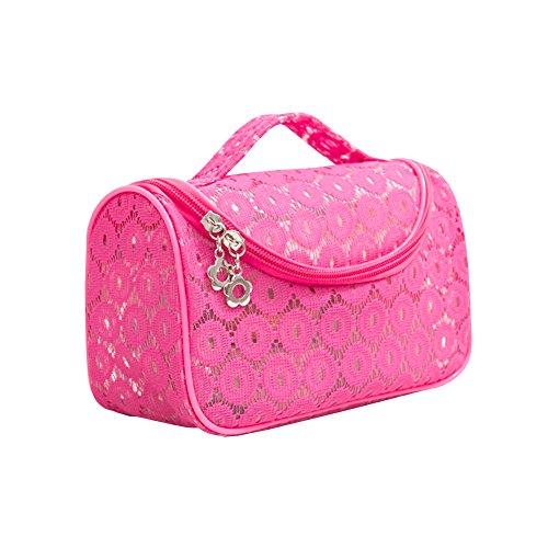 Mode Filet de voyage en dentelle Fermeture Éclair Petite trousse cosmétique Sacs de rangement, 21 x 9 x 11 cm rouge rose rouge
