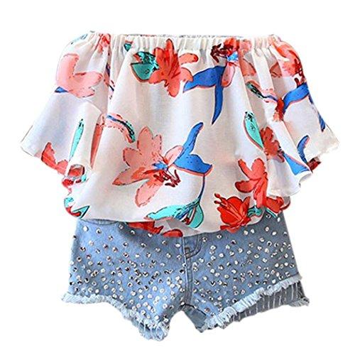 Bekleidung Longra Sommer Kinder-Mädchenkleidung Florale Wort Schulterfrei Chiffon Kurzarm Shirt Bluse Tops + Pailletten Denim Shorts Hose Set Kleidung Outfits(3-7Jahre) (110CM 4Jahre, Multicolor)