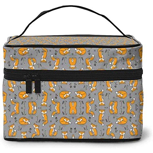 Dreamy Fox on Grey Tiny Small Portable Ladies Travel Cosmetic Case Bag Storage Makeup Pouch Multi-Function Wash Large Capacity
