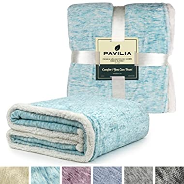 PAVILIA Premium Sherpa Throw Blanket for Couch, Sofa | Soft Micro Plush Reversible Throw | Melange Fleece Lightweight All Season Blanket (50 X 60 Inches Sea Blue)