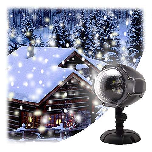 GAXmi Luce di caduta della neve Natale Nuvole bianche di neve Luci del proiettore del LED Rotante riflettore per Nozze Compleanno...