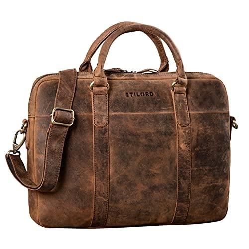 STILORD \'Laslo\' Businesstasche Leder Groß für Herren 13,3 Zoll Laptop-Tasche DIN A4 Hochwertig Vintage Handtasche Umhängetasche Schultertasche Echtleder, Farbe:Sepia - braun