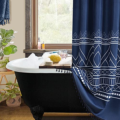Boho Shower Curtain Set Rings Navy Blue Shower Curtains Farmhouse Modern Fringe Shower Curtain Tassels Bathroom Restroom Fabric Water Repellent Aztec Tribal Shower Curtain Polyester Decor 72x72 Inch