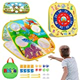 Bean Bag Toss Game for Kids Outdoor Toys for 3 4 5 6 7 8 Year Old Boys Girls Gift - Backyard Throwing Dart Board Outside Toys Toddlers Games 3 in 1 Toy