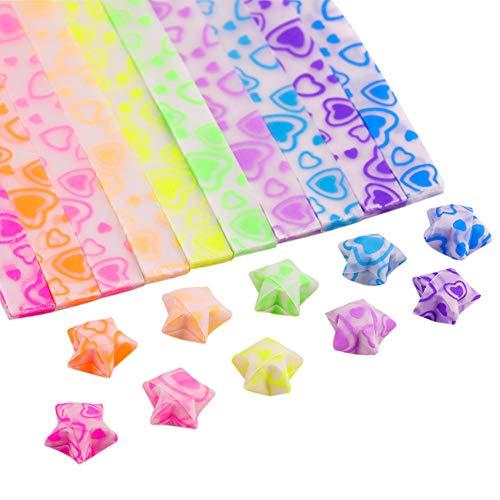 IFEVER tiras de papel con estrellas de origami que brillan en la oscuridad, estrellas de papel de origami de Lucky Star, 7 colores, 210 hojas, color Heart