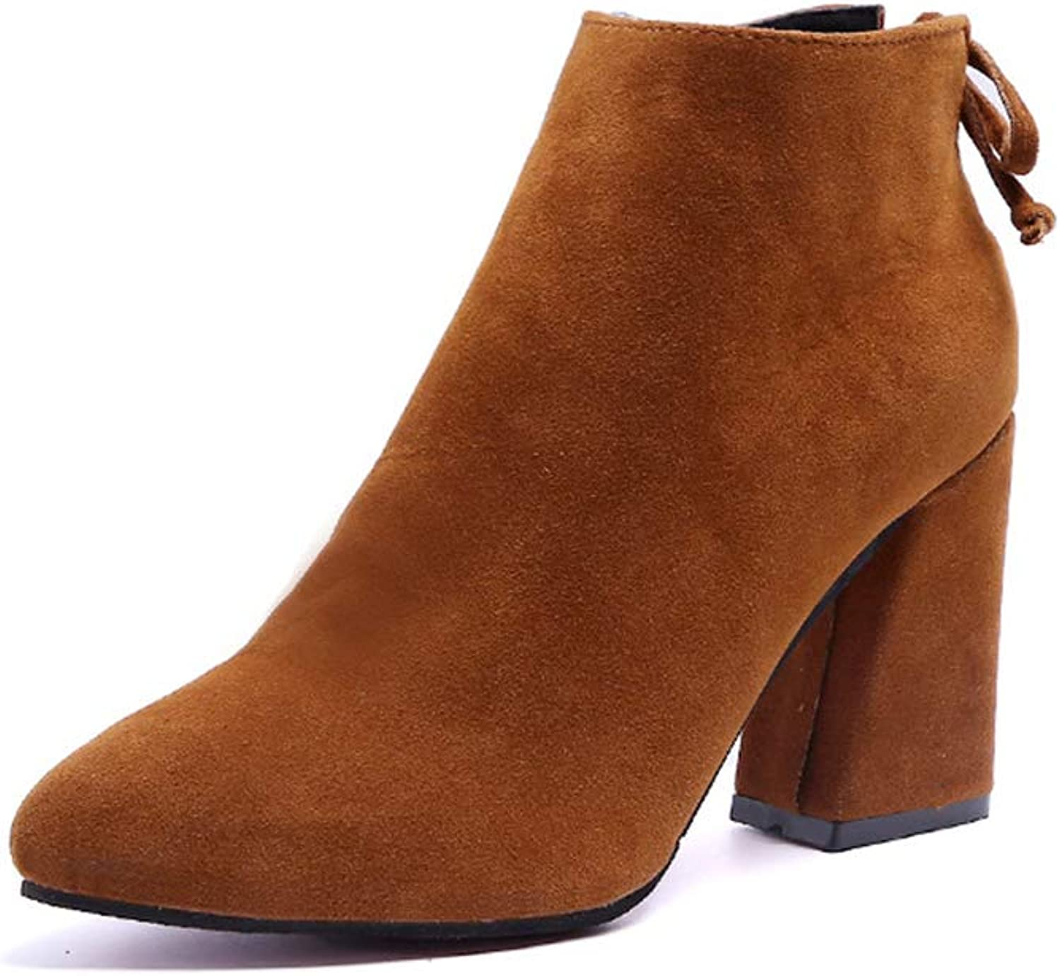 Women's Suede Boots Side Zipper Rear Strap Boots Boots Bare Boots Thick Heel Boots