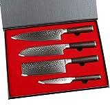 YARENH Cuchillo de Cocina Profesional,Set Cuchillos Cocina de Acero Damasco Japones con 4 Piezas,Mango de Madera Pakka,Cuchillo de Chef Ultra Filoso HXZ-Serie