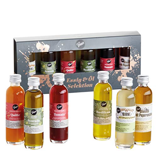 Gepp's Feinkost Essig und Öl Probier- und Geschenkset | 6 hochwertige Essige & Öle in edler Verpackung I Hergestellt nach eigener Rezeptur | Köstliches Gourmet-Geschenk | 6x40ml