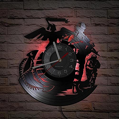 yltian Uniforme de la Marina de Guerra de los Hombres Reloj de Registro de álbum de Vinilo Soldado de Guerra inspiración Reloj de Pared Militar decoración de la Pared del hogar Reloj Vintage Regalo