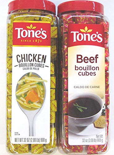 2 Pack: Tones Chicken Bouillon Cubes and Tones Beef Bouillon Cubes Variety Pack, 32 Oz Each, 1 of Each Flavor. (Bundle of 2), 227 Cubes Per Container