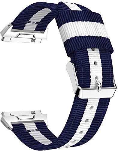 Gransho Correa de Reloj Compatible con Fitbit Ionic, Lienzo Correa Relojes Militar del ejército - Correa Reloj con Hebilla de Acero Inoxidable (Pattern 4)