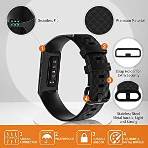 poshei 4 Packs Bands Compatible with Fitbit Charge 4 / Fitbit Charge 3 / Fitbit Charge 3 SE for Women and Men, Classic Replacement Wristband, Soft Silicon Waterproof Quick Release Sports Strap