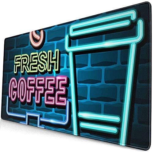 Verse koffie reclame teken neon licht uitgebreid gaming muis pad, dikke grote computer toetsenbord muismat