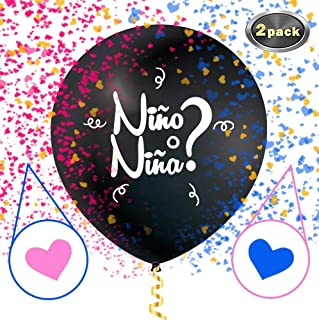 GenderSense Jumbo 36 Inch Black Baby Gender Reveal Balloon | Big Black Balloons with Pink and Blue Heart Shape Confetti for Boy or Girl | Nino o Nina Sex Revelation Party Supplies Decoration Kit