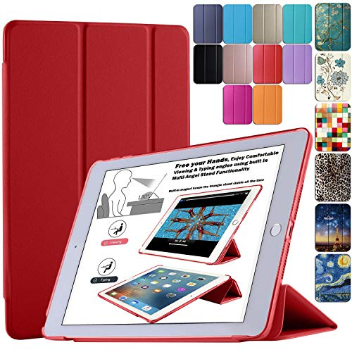 DuraSafe Cases for Apple iPad Air 1st Generation 2013-9.7 Inch Slimline Series Lightweight Protective Cover with Dual Angle Stand & Froasted PC Back Shell - Red