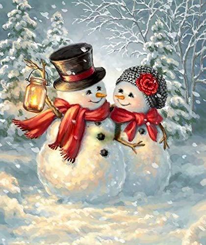 5D Full Drill Christmas Diamond Painting Kit, Mikimiqi DIY Diamond Rhinestone Painting Kits for Adults and Beginner Diamond Arts Craft Decor, 15.8 X 11.8 Inch (Xmas Christmas Snowman Diamond Painting)