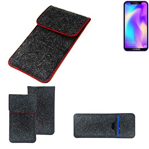 K-S-Trade Handy Schutz Hülle Für Leagoo S9 Schutzhülle Handyhülle Filztasche Pouch Tasche Hülle Sleeve Filzhülle Dunkelgrau Roter Rand