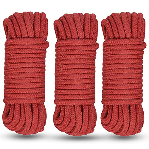 Soft Cotton Rope, 2 Pcs 32 Feet 10 Meter Multipurpose Durable Long Rope. Soft Rope Cord (Red-3)