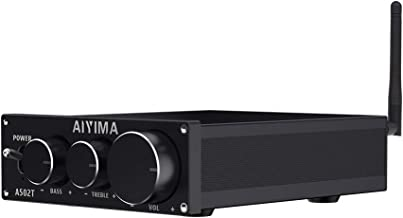 AIYIMA TPA3116D2 HiFi Stereo Audio Amplifier with Bluetooth 4.2 & 2.0 Channel Class D Integrated Digital Amp for Home Desktop Speakers with Bass and Treble Control & Power Supply (Black)
