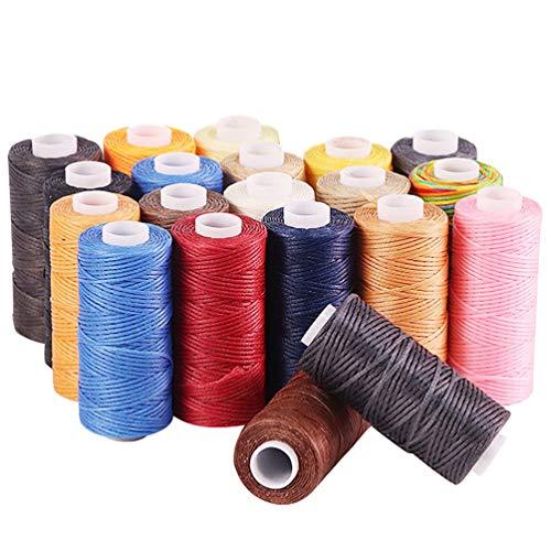 TENDYCOCO 20 Piezas Cordón de Cordón Colorido Cordón de Anudado Chino Cordón de Ajuste Encerado Shamballa Hilo de Macramé Hilo de Tejer a Mano para Joyería de Bricolaje (Color Aleatorio)