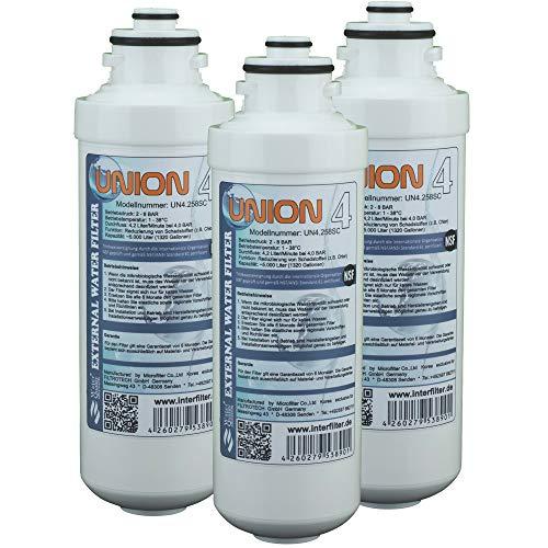 Cartucho de repuesto para filtro de agua Union 4, filtro externo para frigorífico SbS, paquete de 3 unidades