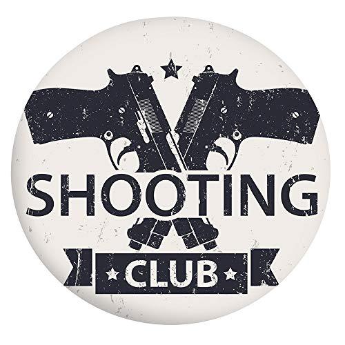 Nappe en polyester avec bords élastiques, motif club de tir avec armes croisées, pistolets, fond grunge, table pour table ronde de 101,6-111,8 cm, pour salle à manger et cuisine Crea