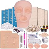 Microblading Practice Kit with Skin, Eyebrow Tattoo Kit, Flat Mannequin Head Lip Makeup with Eyebrow Blade Pen, Pigment Ink Ring, Training Practice Skin for Microblading Practice Permanent Makeup
