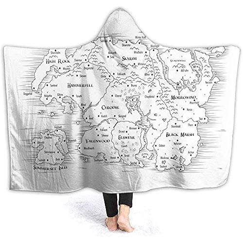 Groefod Hooded Blanket Mapa de Tamriel Super Soft Sherpa Fleece Blanket para niños