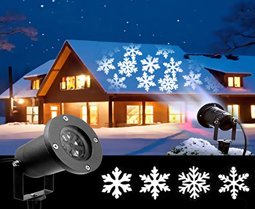 2018 Newest Christmas Lights, White Moving Snowflake Light Projector Holiday Outdoor Decorations Waterproof for Landscape Garden Halloween Thanksgiving Christmas Party?12W?
