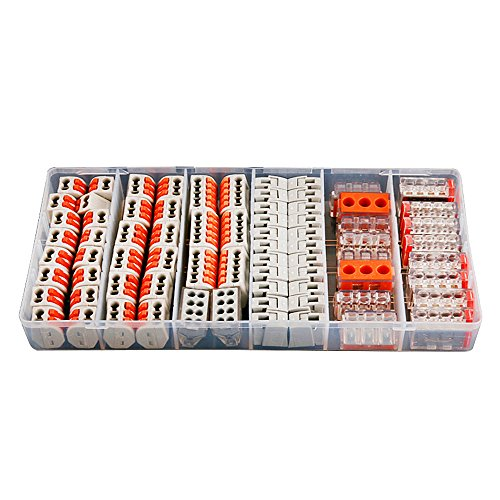 74Pcs/Box 7 in 1 Hard Wire Connecting Terminal 1/2/3/4/5/8 Pin Conductor Terminal Block with Lever Universal Compact Wire
