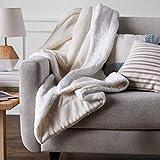 Amazon Basics Ultra-Soft Micromink Sherpa Blanket - King, Cream