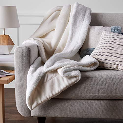 Amazon Basics Ultra-Soft Micromink Sherpa Blanket - Full/Queen, Cream