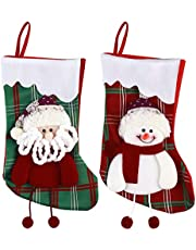 Outgeek 2PCS Christmas Stocking Snowman Santa Christmas Gift Bag Hanging Stocking