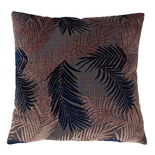 Paoletti Palm Grove Feather Filled Cushion, Blush/Navy, 50 x 50cm