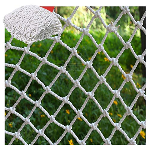 Children Safety Net, Decor Net Stair Protection Safety Fence Climbing Woven Rope Truck Cargo Trailer Netting Rock Rope Ladder Swing White (Size : 3x4m(10x13ft))