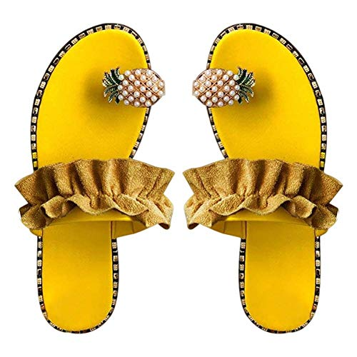 JFFFFWI Sandalias de Mujer Moda Piña Sandalias de Anillo con Punta Abierta Zapatillas Planas Salvajes para la Playa de Verano
