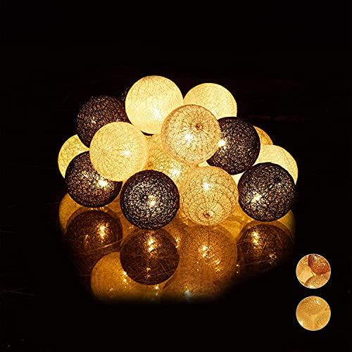 Luces decoración de Habitación con Forma de Bolas de Lana, Luces Led Iluminación de Interior que Funciona con Pilas o Enchufe USB(20 Bolas de 60 mm, Gris Nórdico)