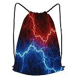fudin Impermeable Bolsa de Cuerdas Saco de Gimnasio relámpagos eléctricos azul rojo plasma abstracto Deporte Mochila para Playa Viaje Natación
