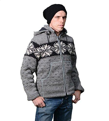 Strickjacke Wolle Jacke Norwegermuster mit Fleecefutter und Abnehmbarer Langer Zipfelkapuze, Größe/Size:XS;Farbe:Grau