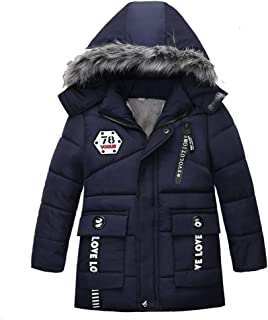 wuayi Kinder Junge Mantel Junge Cartoon-Auto-Stern Drucken Winddicht Mit Kapuze Mantel Winter Boy Windproof Jacke Kid Coat