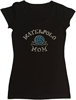 Womens T-Shirt with Lt. Blue Waterpolo Mom in Rhinestones