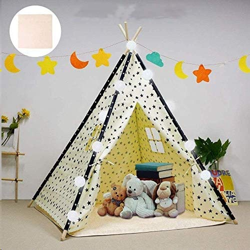 Arkmiido Kids Teepee Play Tent Foldable Play Tent for Boys and Girls with Plush Mat Playhouse for Kids Indoor and Outdoor