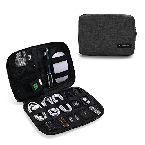 BAGSMART Electronics Accessories Organiser Bag, Portable Electronics Carrying Case Travel Small for Cables, Powerbank, Earphone, USB sticks, SD Card (Black)