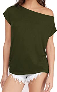 Sarin Mathews Women's Casual Off Shoulder Tops Short Sleeve and Long Sleeve T Shirts Lose Sexy Tank Tops Blouses